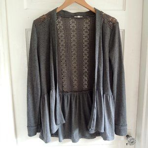 Mystree Gray Flowy Cardigan w/Crochet Lace Back M
